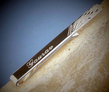 Half Engraved Solid Silver Tie Slide - dl_sa5lhm