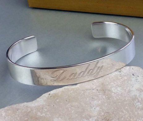 Personalised Men's Open Silver Cuff Bracelet - fgh_2214-01
