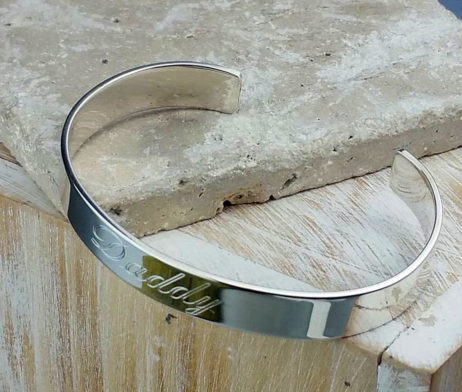 Personalised Men's Open Silver Cuff Bracelet - fgh_2214