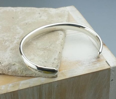 Mens' Curved Solid Silver Open Cuff Bracelet - fgh_22140