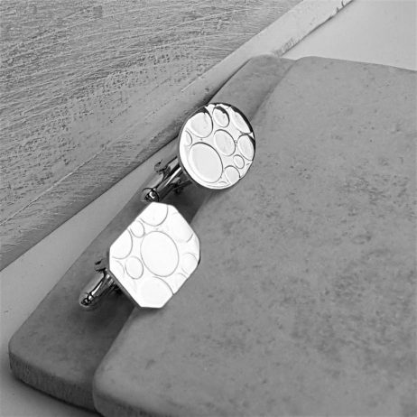 Mismatched Bubble Silver Cufflinks