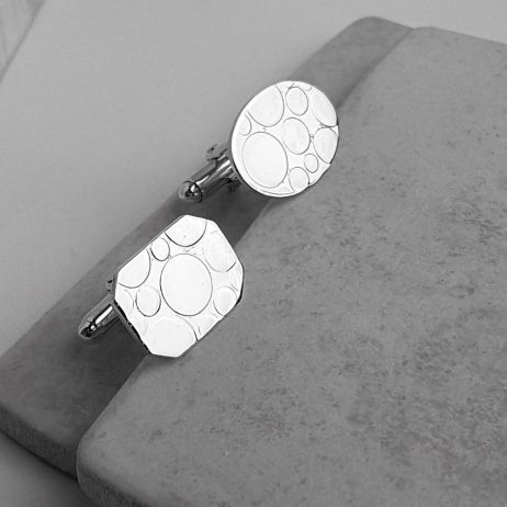 Mismatched Bubble Silver CufflinksMismatched Bubble Silver Cufflinks