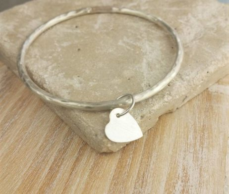 Personalised Pierced Heart Ladies Silver Bangle