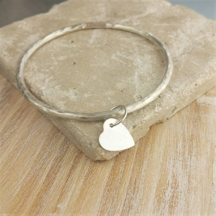 d58e81f55e20c Personalised Pierced Heart Ladies Silver Bangle