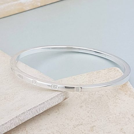 The Personalised Square Edged Sterling Silver Bangle