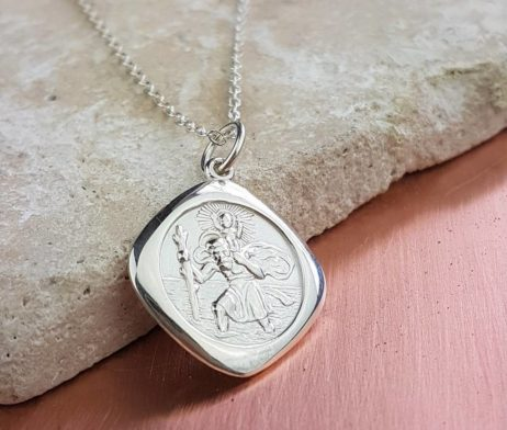 Personalised Silver Saint Christopher Necklace