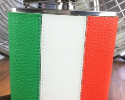 Irish Tricolour Hip Flask - Leather Hip Flask with Irish Flag. Classic Irish Tricolour Hip Flask features a truly iconic design, the full colour 6 oz Irish flag hip flask & capture top.