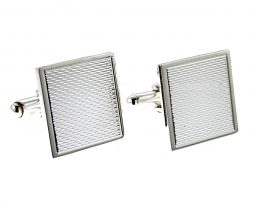 Silver Engine Turned Detail Square Cufflinks