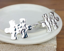 Sterling Silver Hammered Effect Jigsaw Cufflinks