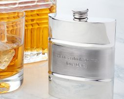 Personalised Satin Stripe Hip Flask