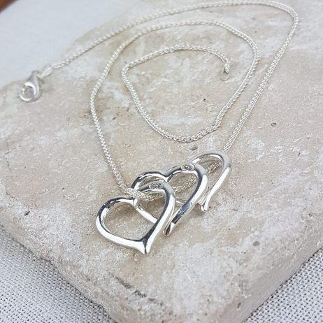 Sterling Silver Triple Heart Valentine Pendant
