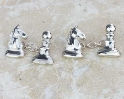 Knight Takes Pawn Chess Cufflinks