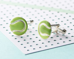 Silver And Enamel Tennis Ball Cufflinks
