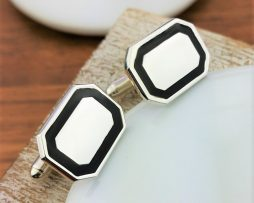 Silver And Black Enamel Cufflinks