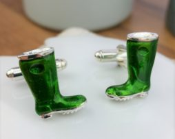 Enamelled Silver Wellington Cufflinks