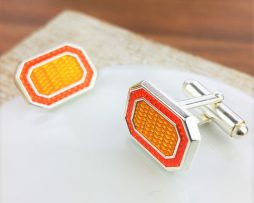 Boogie Nights Silver And Orange Enamel Cufflinks
