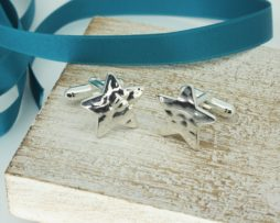 Star Shaped Cufflinks In Hammered Silver