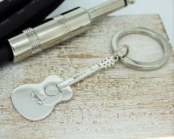 Personalised Silver Acoustic Guitar Key Ring