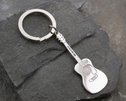 Engraved Silver Acoustic Guitar Keyring