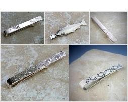 Silver Tie Slides Personalised