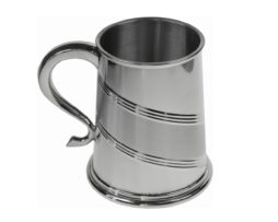 Personalised Engraved Diagonal Satin Band Pewter Tankard