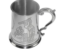 Personalised One Pint Cricket Scene Pewter Tankard