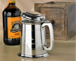 Personalised Lidded Pewter Tankard with Square Handle