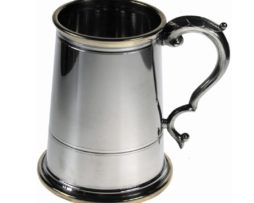Polished Pewter Tankard with Brass Detailing
