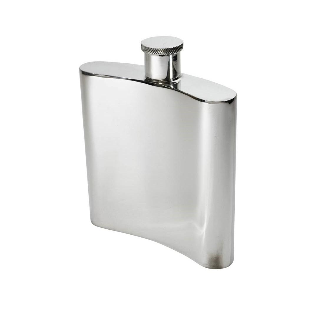 Personalised 26 Oz Giant Plain Pewter Kidney Hip Flask