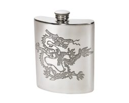 Personalised Engraved 6 oz Chinese Dragon Pewter Kidney Hip Flask