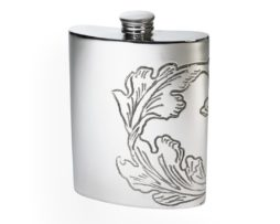 Personalised Engraved 6 oz Acanthus Pattern Pewter Kidney Hip Flask