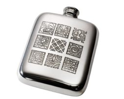Personalised Engraved 4 oz Medieval Pewter Kidney Hip Flask