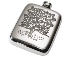 Personalised 4 oz Tree of Life Tree Pewter Pocket Hip Flask