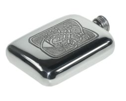 Personalised Engraved Celtic Serpent Pewter 4 oz Pocket Hip Flask