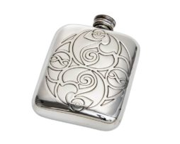 Engraved Personalised Celtic spirals 4 oz Pewter Pocket Hip Flask