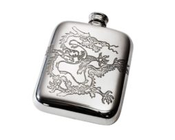 Personalised Engraved 4 oz Chinese Dragon Pewter Pocket Hip Flask
