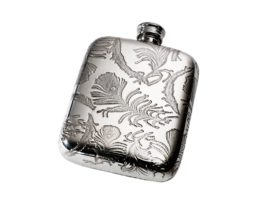 Personalised Engraved Peacock Pattern 4 oz Pewter Pocket Hip Flask