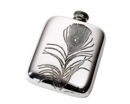 PERSONALISED PEACOCK FEATHER 4 OZ PEWTER POCKET HIP FLASK