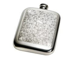 Personalised 6 oz Love Skull Pewter Pocket Hip Flask