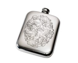 Personalised Engraved 6 oz Skull Heart Cluster Pewter Pocket Flask