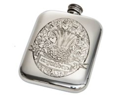 Engraved Personalised 6 oz Usquabae Thistle Skull and Hearts Pewter Hip Flask