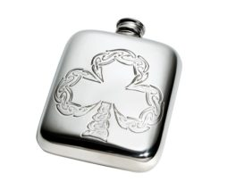 Personalised Engraved 4 oz Shamrock Pewter Pocket Hip Flask