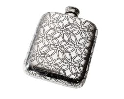 Personalised Triquetra 4 oz Pewter Pocket Hip Flask