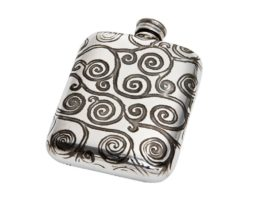 Personalised Engraved 4 oz Tree of Life Pewter Pocket Flask