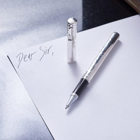 Distinguished Hammered Roller Ball Personalised Pen. Luxury Pen In Hammered Sterling Silver. Personalised Pen with Engraving.