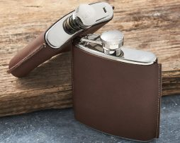 Personalised Brown Leather Hip Flask. Engraved Leather Hip Flask personalised with FREE ENGRAVING and black hip flask presentation box.