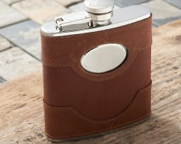 Spanish Leather Personalised Hip Flask. Handmade & stitched light brown leather hip flask with FREE ENGRAVING. Personalised Spanish Leather Hip Flask made with the finest Spanish leather.