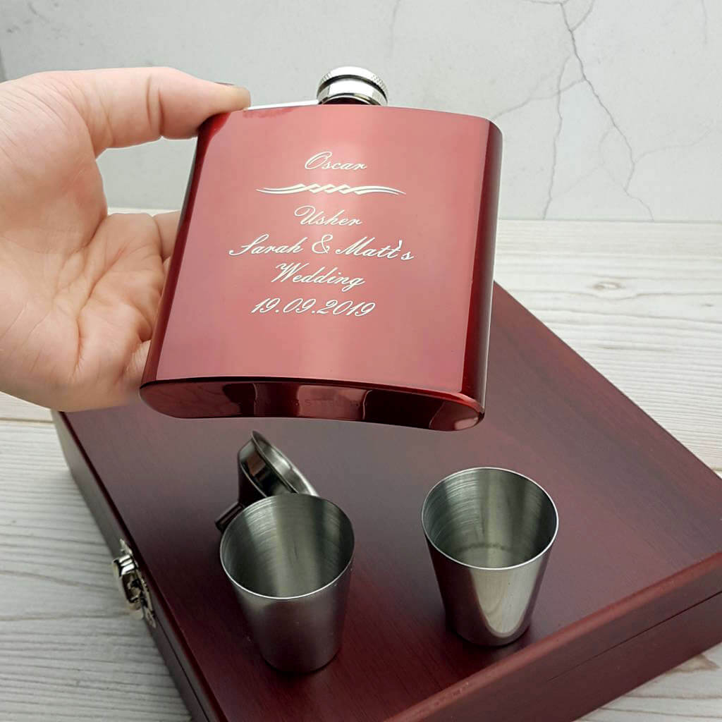 Striking Personalised Hip Flask With Presentation Box ...