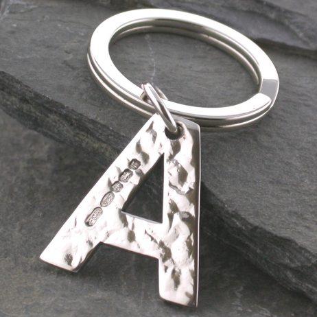 Hammered silver alphabet keyring