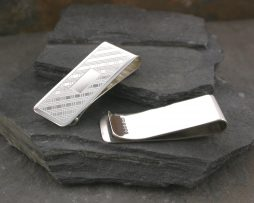 Engraved silver tartan money clip